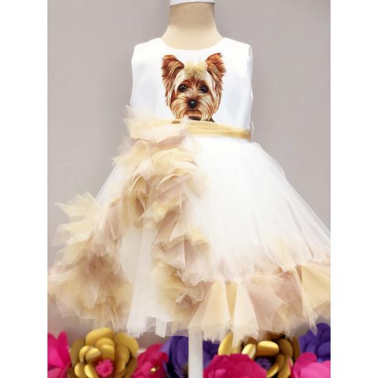 Официална детска рокля с принт кученце