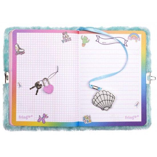 """Таен дневник за момичета с плюшени корици """"Русалка-куче""""  3D"""