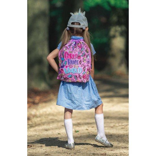 """Детска спортна раница с връзки """"GIRLS RULE"""""""