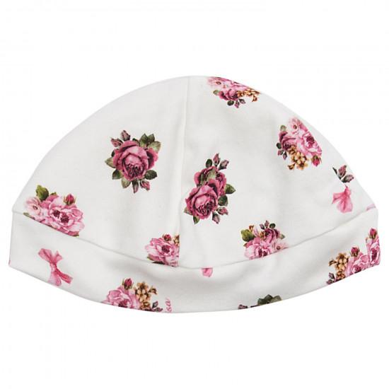 """Бебешка памучна шапка """"Рози"""""""