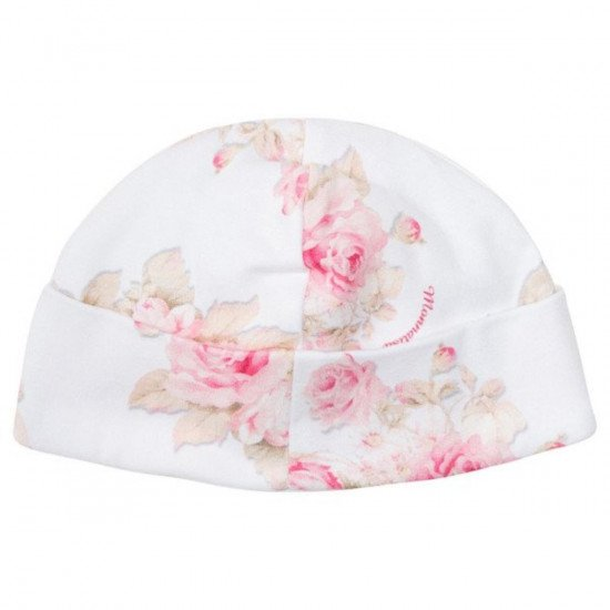 Бебешка памучна шапка с рози и панделка
