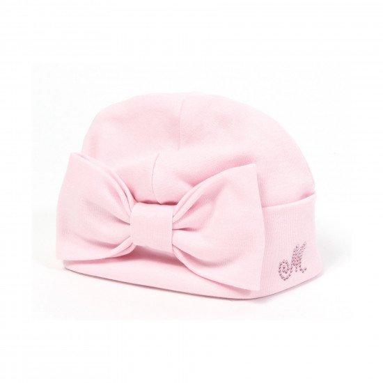 Бебешка розова шапка с панделка