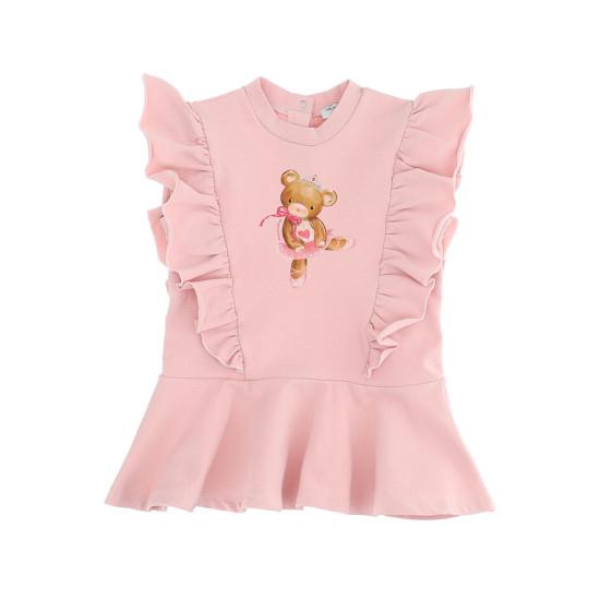 """Бебешка зимна рокля в розово """"Мече"""""""