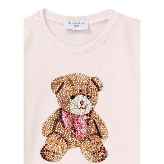 Детска блуза в розово с диамантено мече