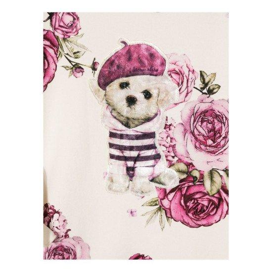 """Детска памучна рокля в розово """"Куче"""""""