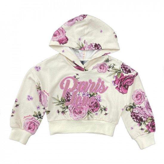 """Детски суитшърт за момиче в розово """"Цветя"""""""