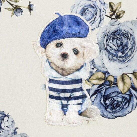 """Детска памучна рокля в синьо """"Куче"""""""