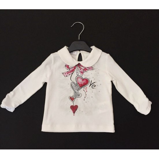 """Детска блуза за момиче с яка """" Сърца"""" на ELSY"""