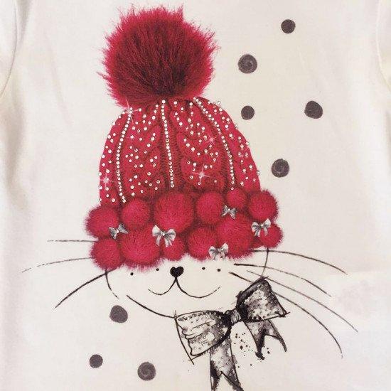 Блуза за момиче с принт шапка на ELSY