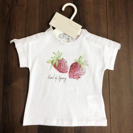 Детска лятна блуза с диамантени ягоди за момиче