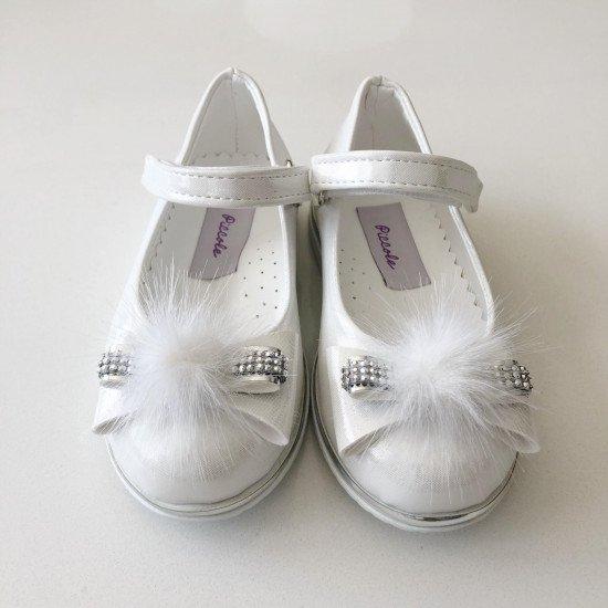 Детски официални обувки за момиче в бяло