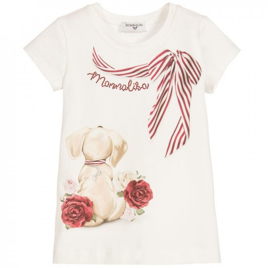 """Детска лятна блуза """"Куче"""" за момиче MONNALISA"""