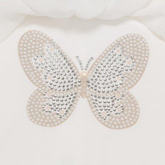 Луксозен бебешки гащеризон с диамантена пеперуда за момиче на MONNALISA