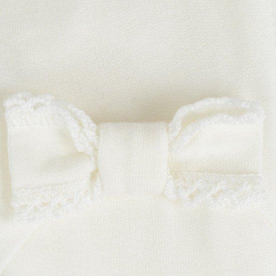Бебешки ромпър за момиче в бяло с диаманти и коте на MONNALISA