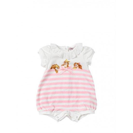 Бебешки летен гащеризон с принт зайчета за момиче на MONNALISA