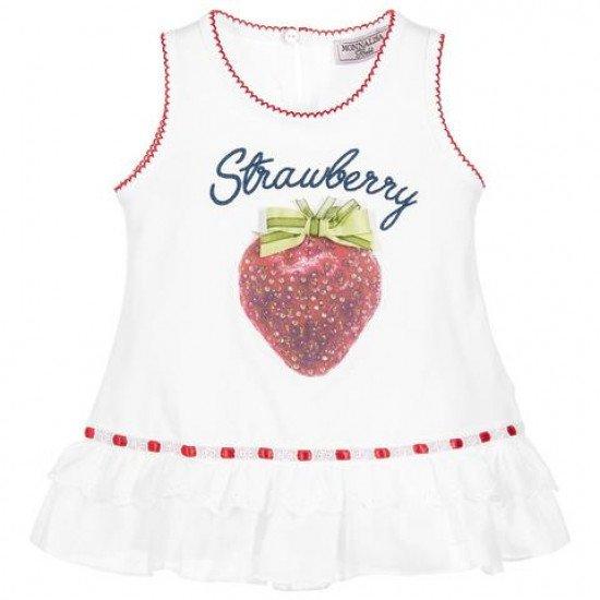 Бебешка туника с принт ягода за момиче на MONNALISA