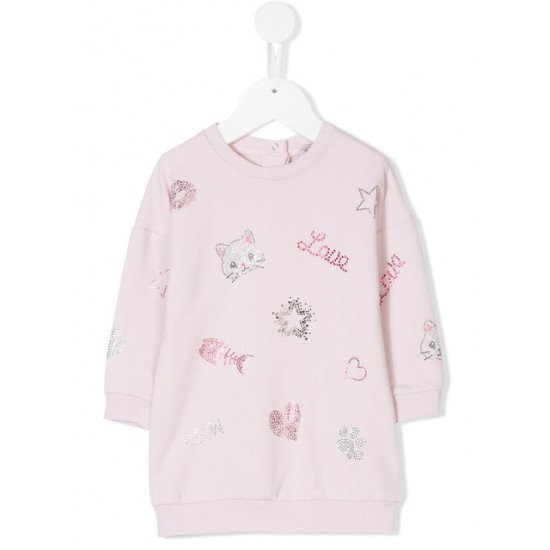 "Бебешка рокля на ""Диаманти"" в розoво MONNALISA"