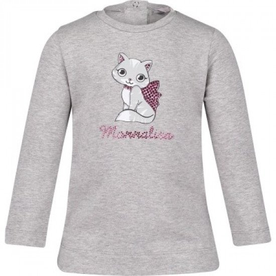 "Бебешка блуза за момиче в сиво ""Meow"" на MONNALISA"