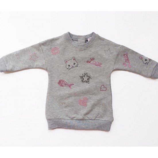 "Бебешка зимна рокля в сиво ""Диаманти"" на MONNALISA"