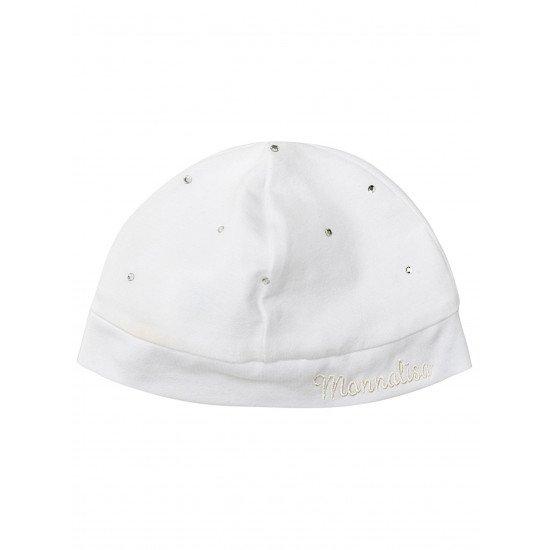 Бебешка памучна шапка с малки кристалчета