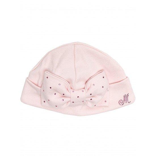 Бебешка памучна шапка с камъчета и панделка