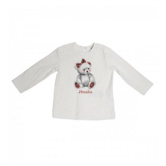 Бебешка блуза с принт мече за момиче