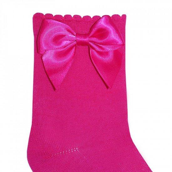 Детски къси чорапи с панделка в циклама за момиче