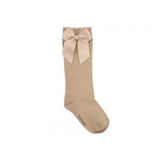 Детски чорапи до коляно с панделка бежово