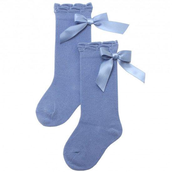 Детски чорапи до коляно в синьо с панделка
