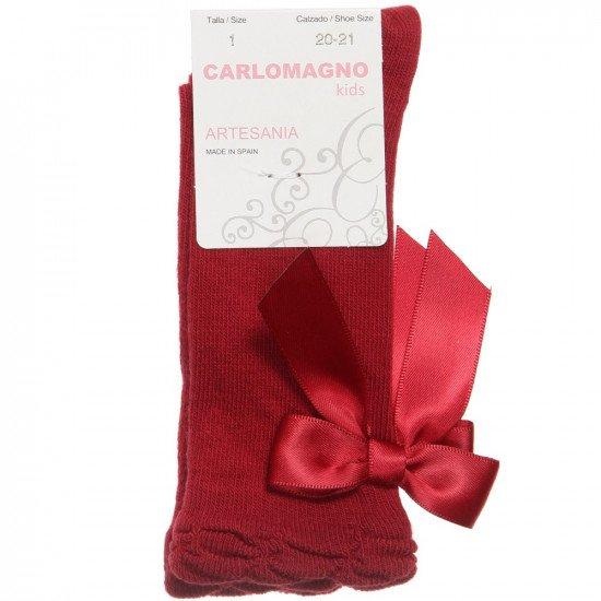 Детски чорапи до коляно в цвят бордо с панделка