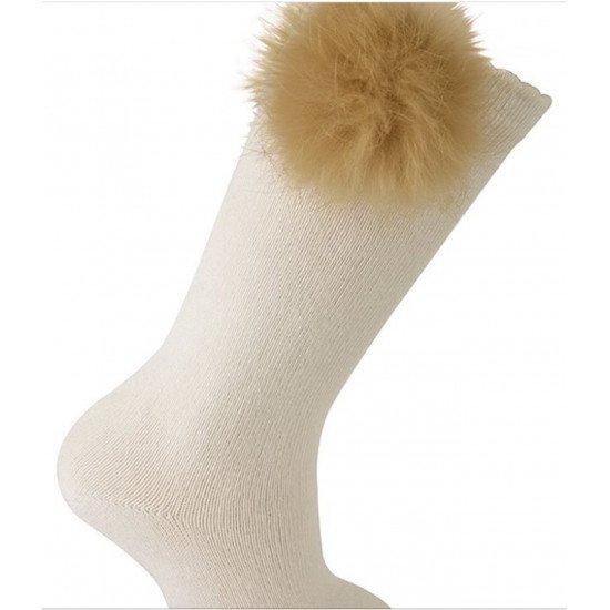 Детски чорапи до коляно в екрю с пухче