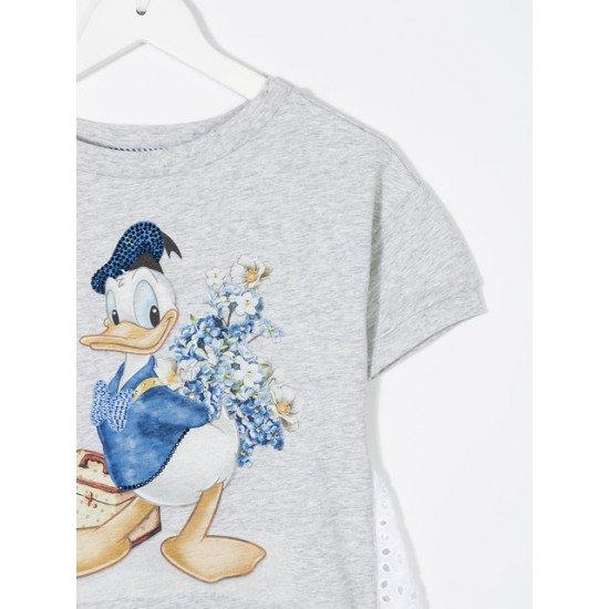 Детска лятна рокля в сиво с дантела Donald Duck