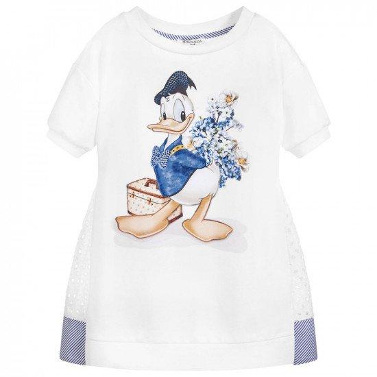 Детска лятна рокля в бяло с дантела Donald Duck