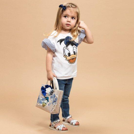 """Детски топ в бяло с раирани ръкави """"Donald Duck"""""""