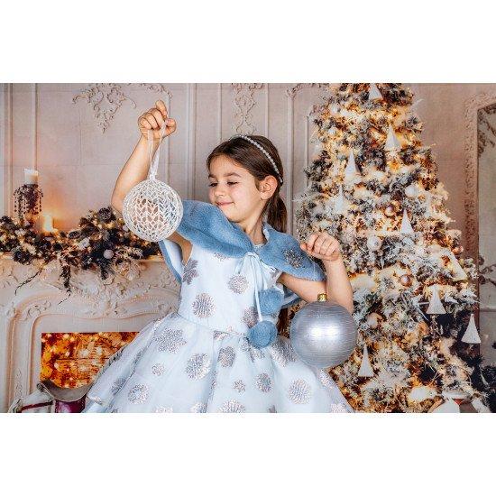 Детска зимна рокля в синьо с болеро