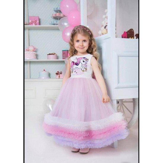Дълга официална детска рокля Еднорог
