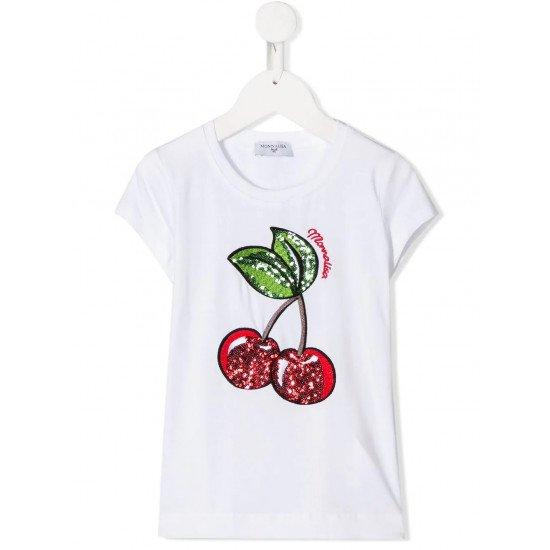 Детска тениска в бяло с череши