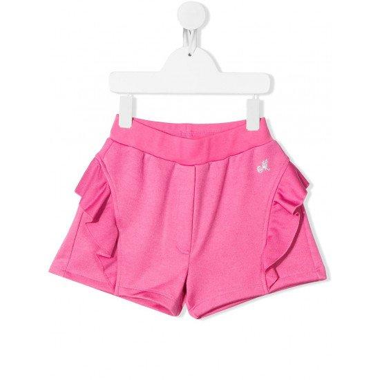 Къси панталони с къдрици в розово
