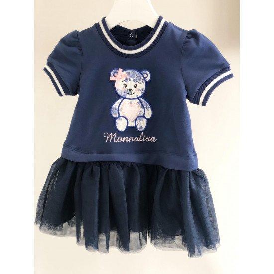 """Бебешка рокля в синьо """"Мече"""""""