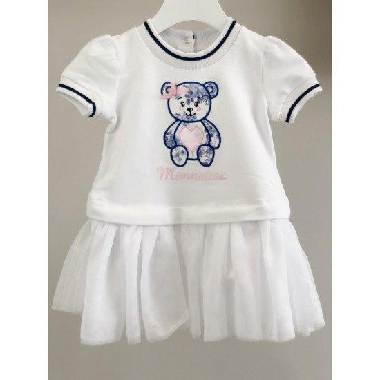 """Бебешка рокля в бяло """"Мече"""""""