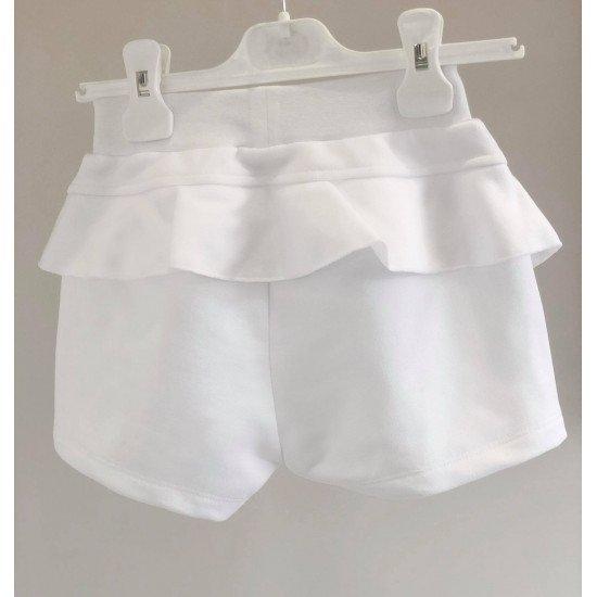 Къси панталони с къдрици в бяло