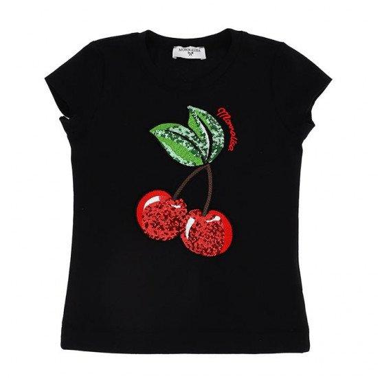 Детска тениска в черно с череши