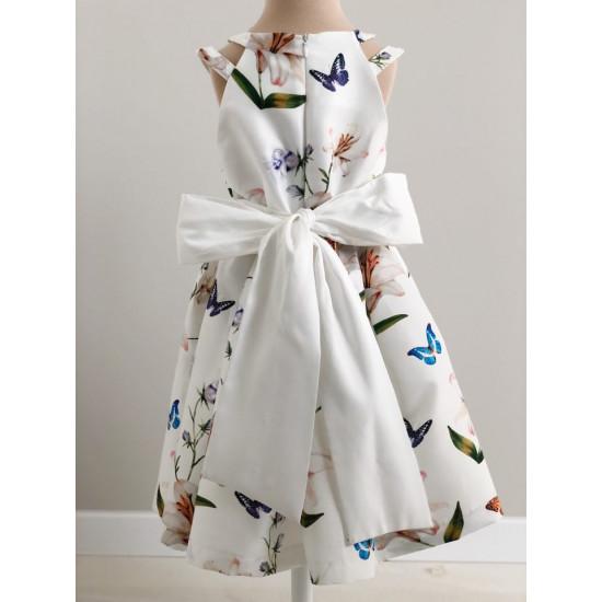 Детска официална рокля в бяло с пеперуди Piccole