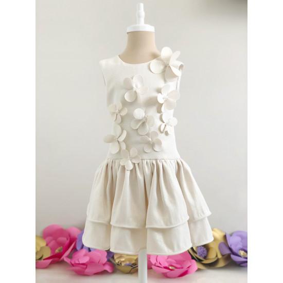 Детска лятна рокля на цветя в златисто Piccole