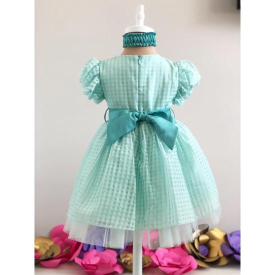 Детска официална рокля в цвят мента на Piccole