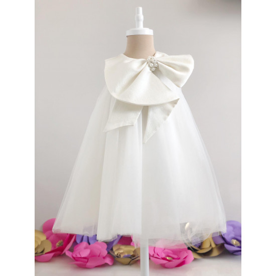 Детска официална рокля в бяло с голяма панделка