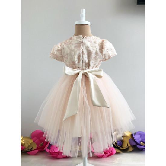 Официална детска рокля в цвят шампанско Piccole