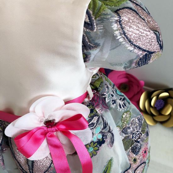 Детска официална рокля с бродирани цветя Piccole