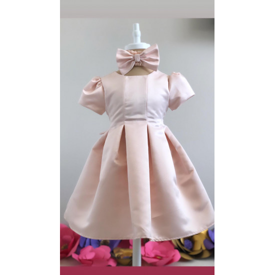 Официална бебешка рокля от сатен в розово Piccole