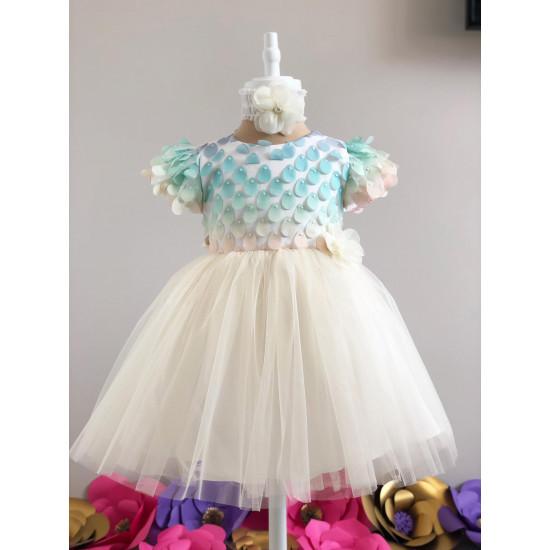 Официална детска рокля в жълто и мента Piccole